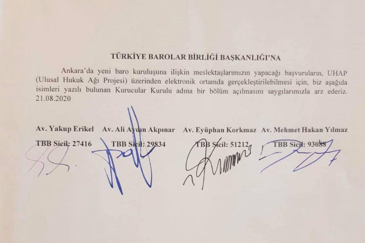 Ankara 2 Nolu Baroya kayıt başvuruları UHAP üzerinden yapılabilmektedir